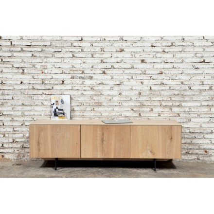 Contemporary low TV 2 doors 1 drawer FIFI solid oak (natural oak)