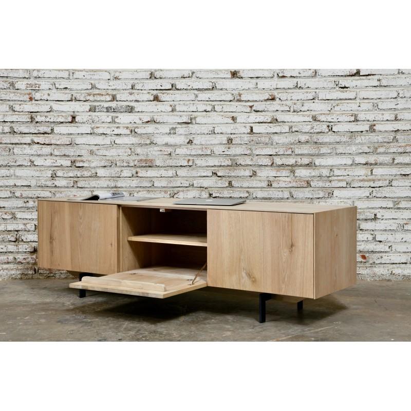 Meuble TV bas contemporain 2 portes 1 tiroir FIFI en chêne massif (chêne naturel) - image 36120