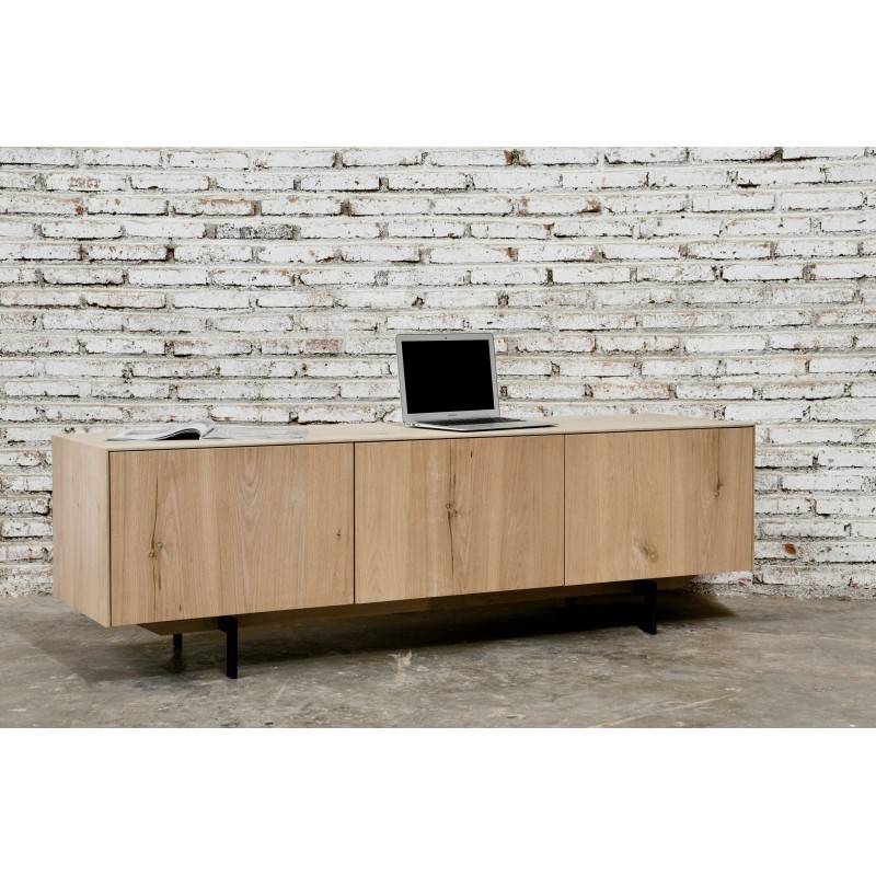 Meuble TV bas contemporain 2 portes 1 tiroir FIFI en chêne massif (chêne naturel) - image 36122