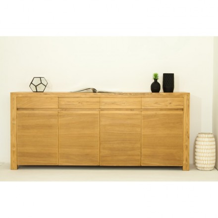 Buffet contemporary row 4 doors 4 drawers ANATOLY (natural) massive teak