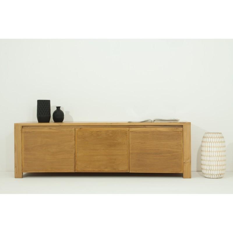meuble tv bas contemporain 3 portes anatoly en teck massif. Black Bedroom Furniture Sets. Home Design Ideas