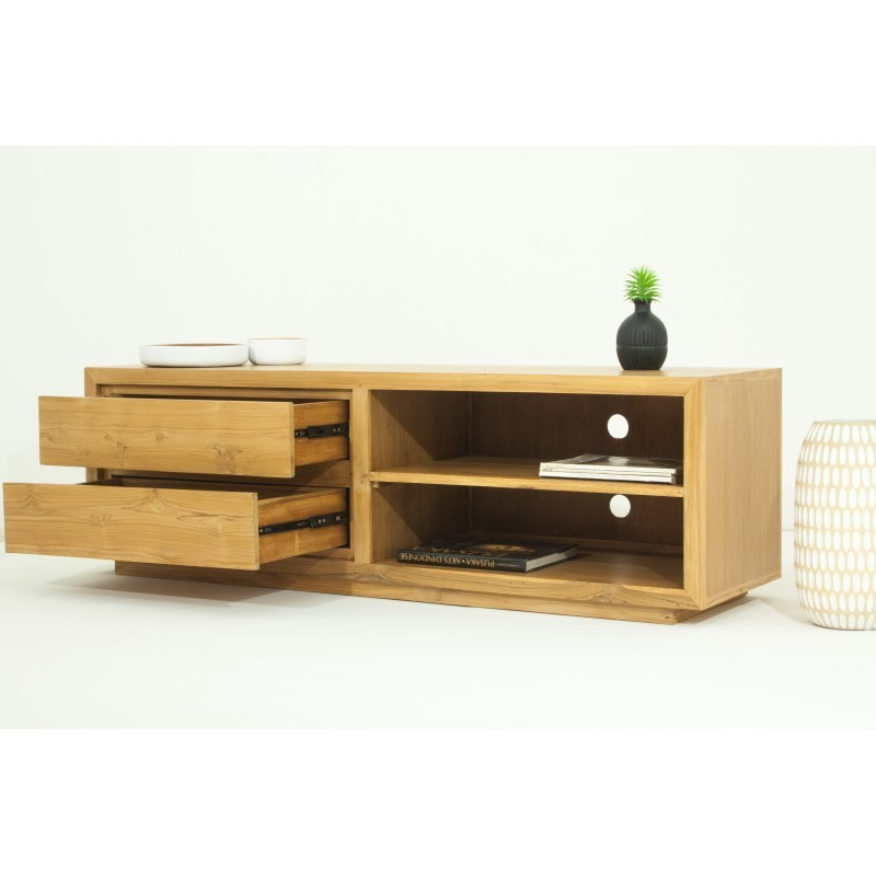 meuble tv bas contemporain 2 niches 2 tiroirs elena en teck massif naturel. Black Bedroom Furniture Sets. Home Design Ideas