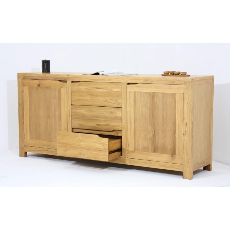 Buffet enfilade contemporain 2 portes 3 tiroirs MARFA en teck massif (naturel) - image 36181