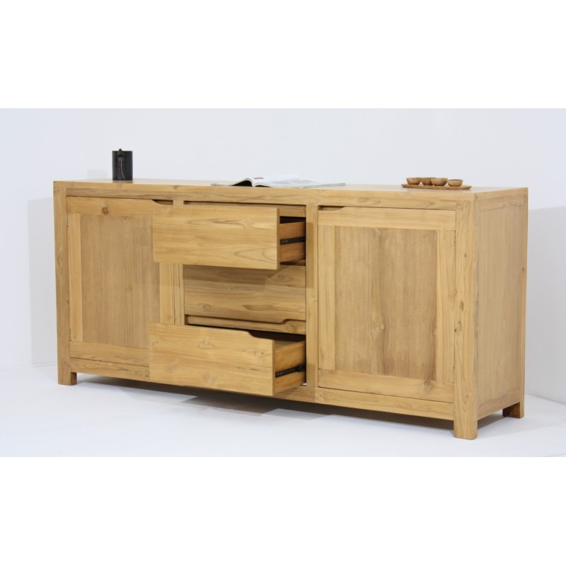 buffet enfilade contemporain 2 portes 3 tiroirs marfa en teck massif naturel. Black Bedroom Furniture Sets. Home Design Ideas
