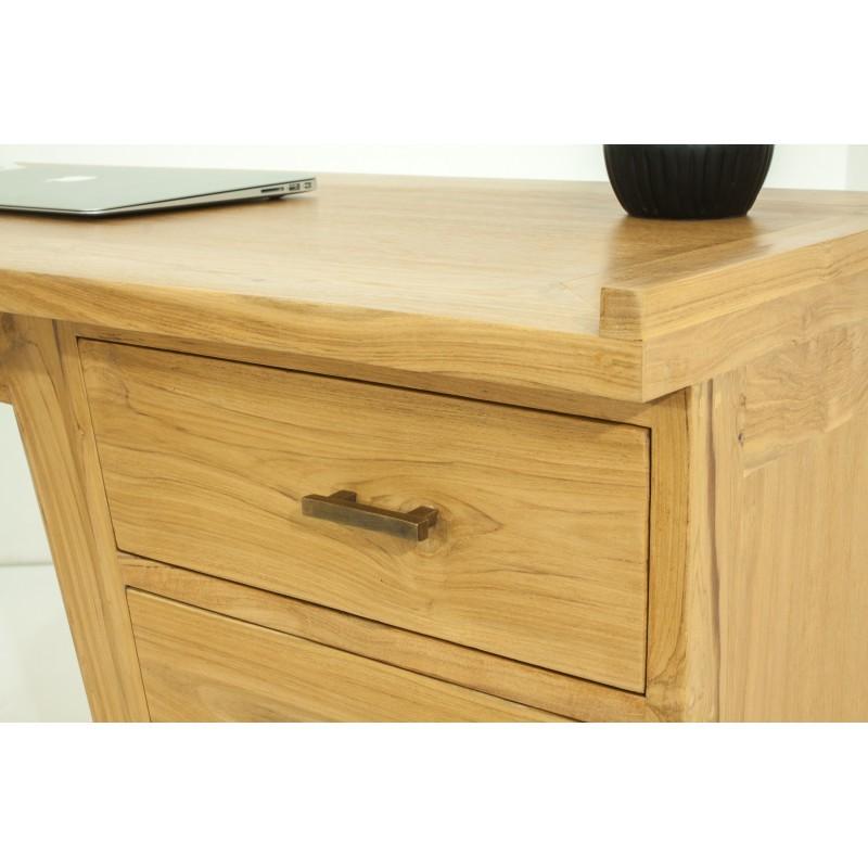 Bureau droit 4 tiroirs design et contemporain MISHA en teck massif (naturel) - image 36190