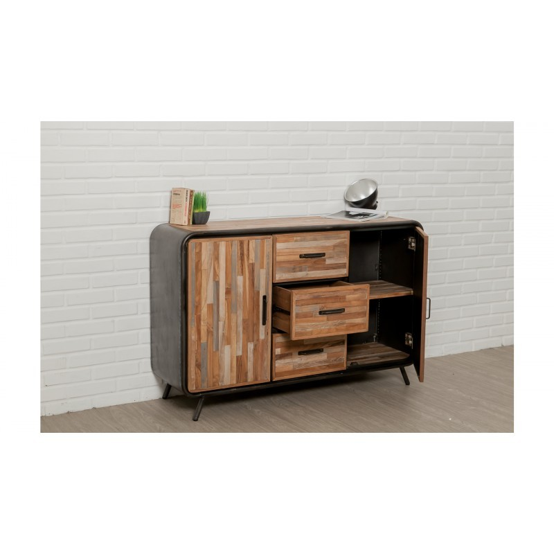 buffet fila 2 puertas 3 cajones 140 cm industrial benoit masiva teca reciclada y metal. Black Bedroom Furniture Sets. Home Design Ideas