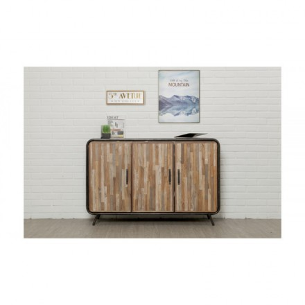 Buffet row 3 140 cm BENOIT massive teak recycled industrial and metal doors