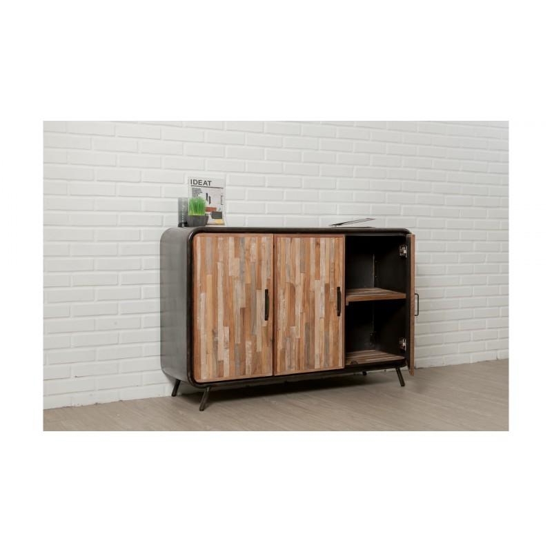 Buffet-Zeile 3 140 cm BENOIT massive Teak recycelbare industrielle und Metall Türen - image 36199