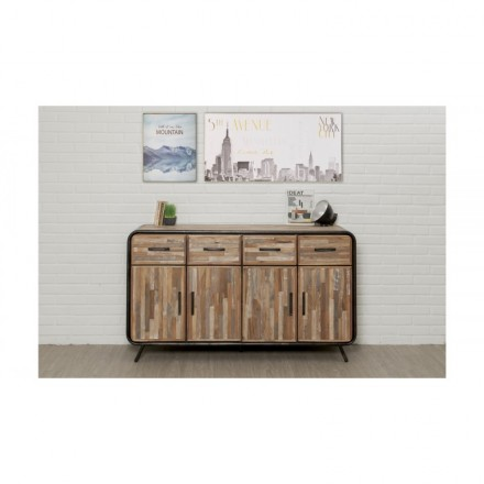 Buffet row 4 doors 4 drawers industrial 160 cm BENOIT massive teak recycled and metal