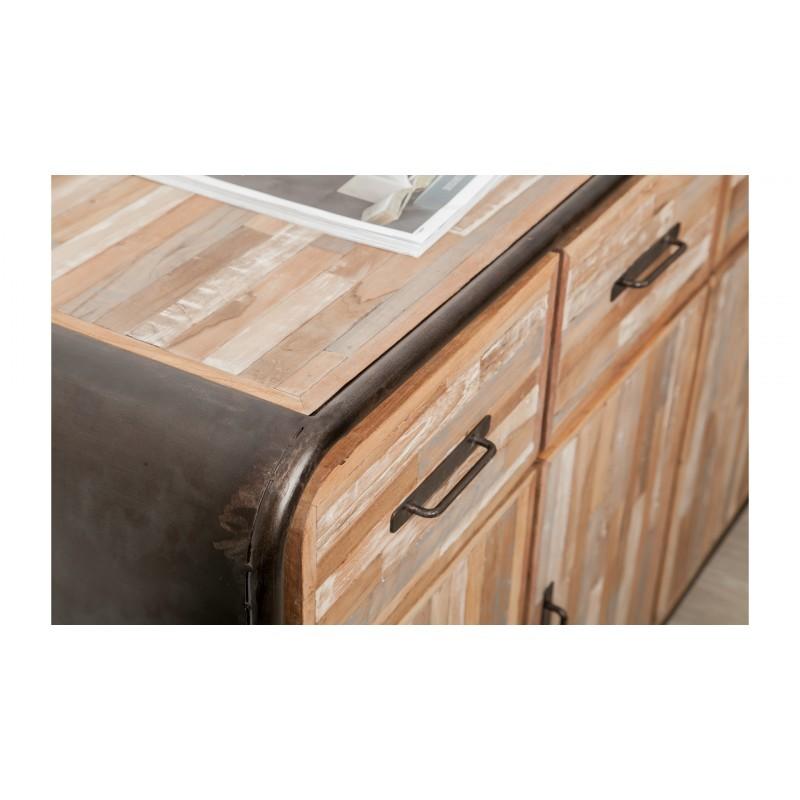 Buffet enfilade 4 portes 4 tiroirs industriel 160 cm BENOIT en teck massif recyclé et métal - image 36205