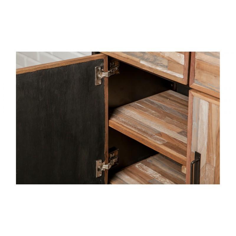 Buffet enfilade 4 portes 4 tiroirs industriel 160 cm BENOIT en teck massif recyclé et métal - image 36206