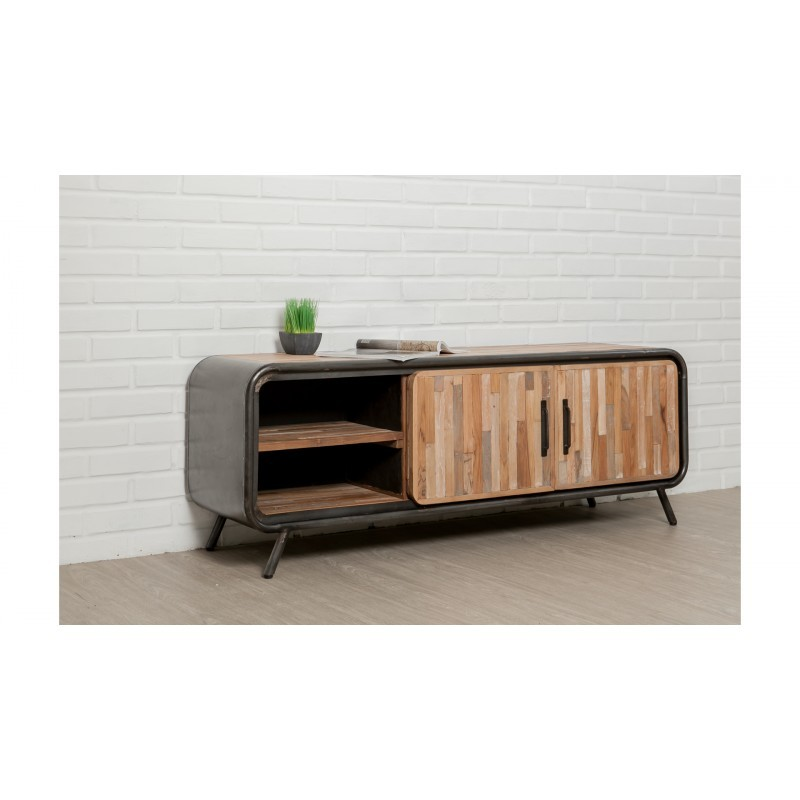 meuble tv bas 2 portes 2 niches industriel 150 cm benoit. Black Bedroom Furniture Sets. Home Design Ideas