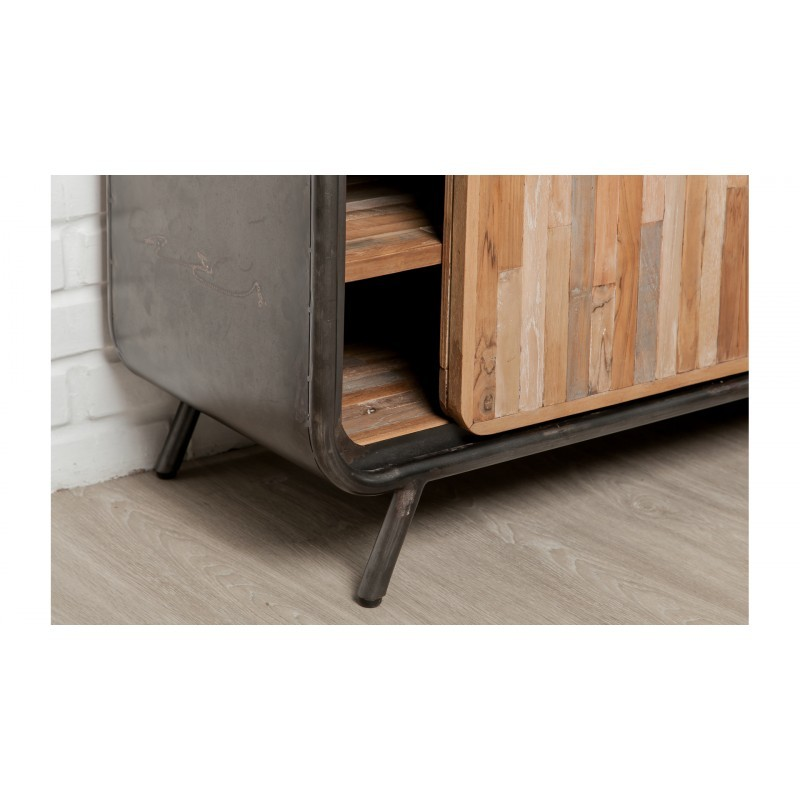 Low TV 2 doors 2 industrial niches 150 cm BENOIT massive teak recycled and metal stand - image 36217