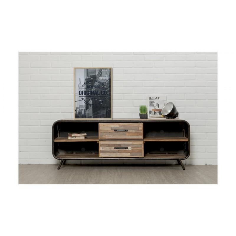 Meuble TV bas 2 tiroirs 4 niches industriel 150 cm BENOIT en teck massif recyclé et métal - image 36219