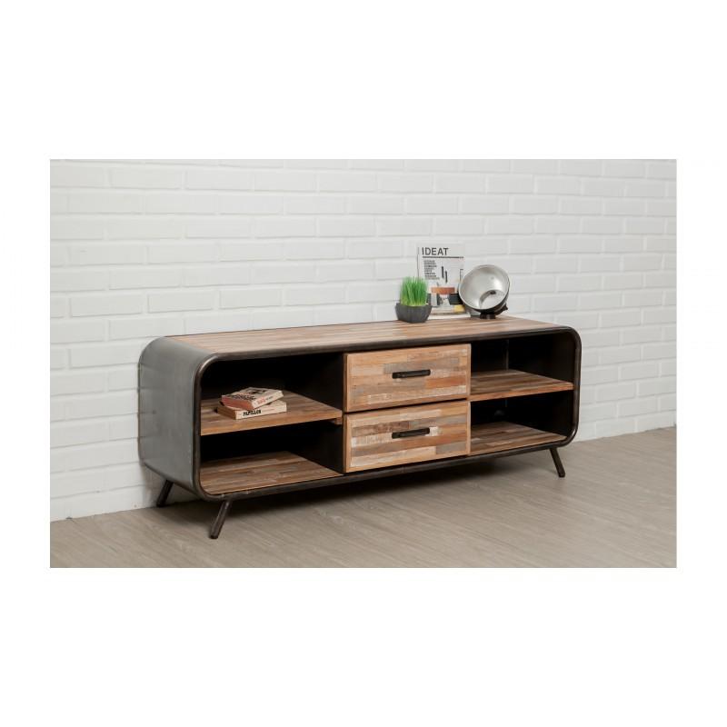 meuble tv bas 2 tiroirs 4 niches industriel 150 cm benoit en teck massif recycl et m tal. Black Bedroom Furniture Sets. Home Design Ideas