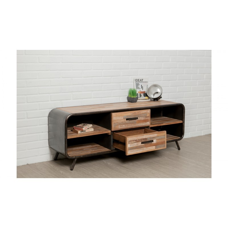 Low TV 2 drawers 4 industrial niches 150 cm BENOIT massive teak recycled and metal stand - image 36221