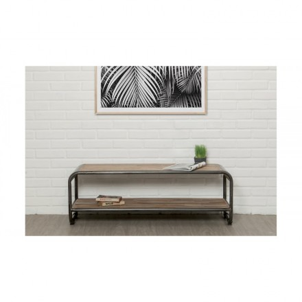 Low TV 2 industrial trays 120 cm BENOIT massive teak recycled and metal stand