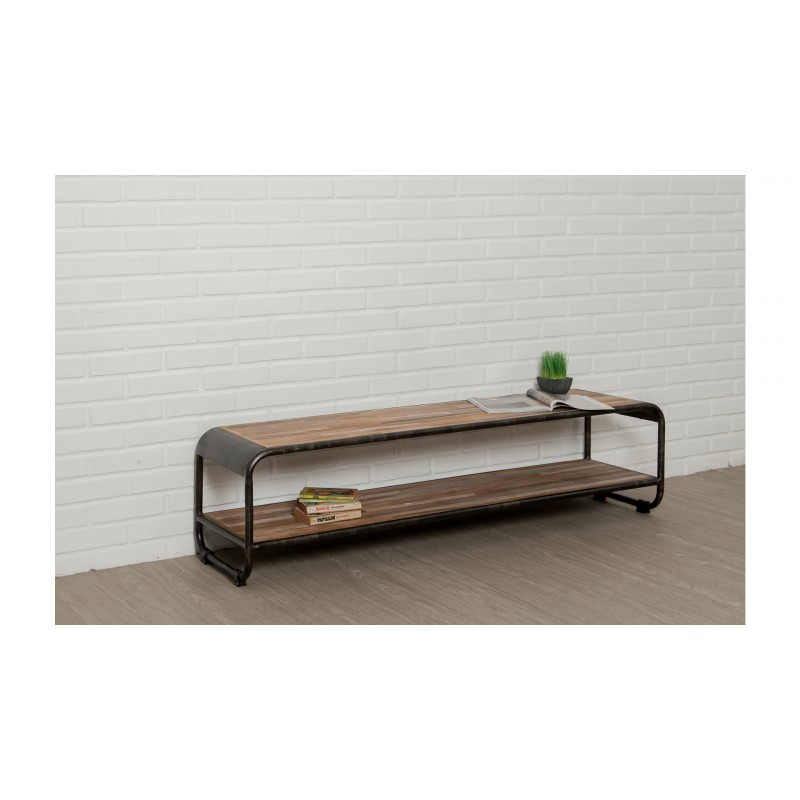 Low TV 2 industrial trays 160 cm BENOIT massive teak recycled and metal stand - image 36227