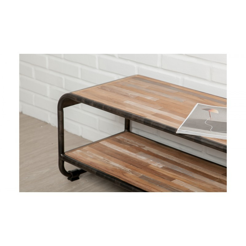 Low TV 2 industrial trays 160 cm BENOIT massive teak recycled and metal stand - image 36228