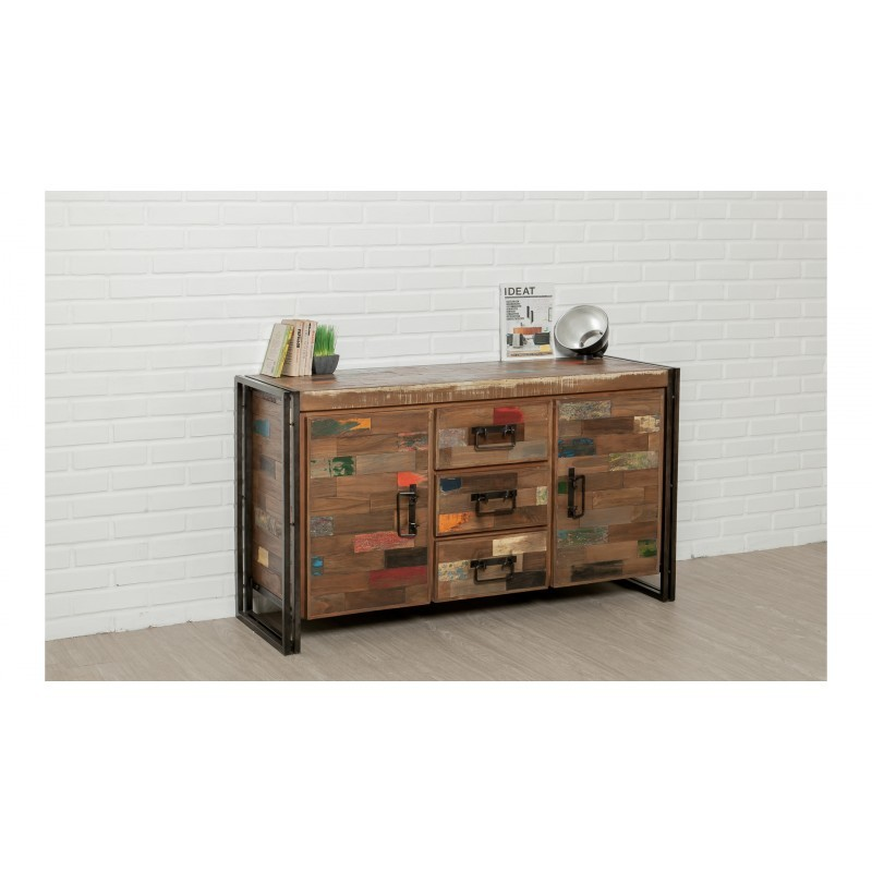 Buffet row 2 doors 3 drawers industrial 140 cm NOAH massive teak recycled and metal - image 36239