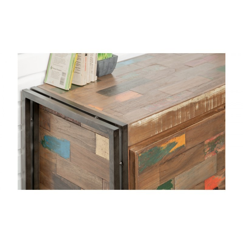 Buffet enfilade 2 portes 3 tiroirs industriel 140 cm NOAH en teck massif recyclé et métal - image 36241