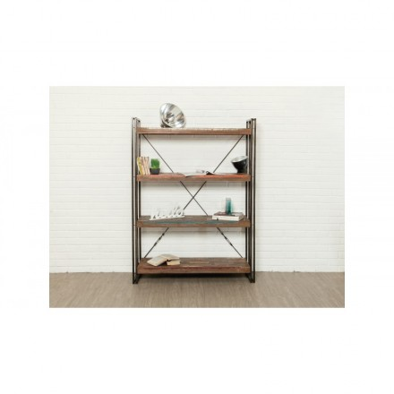Shelf 120 cm NOAH massive teak recycled and metal industrial library