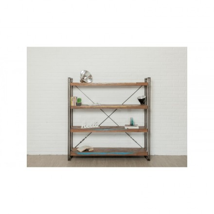 Industrial library 160 cm NOAH massive teak recycled and metal shelf