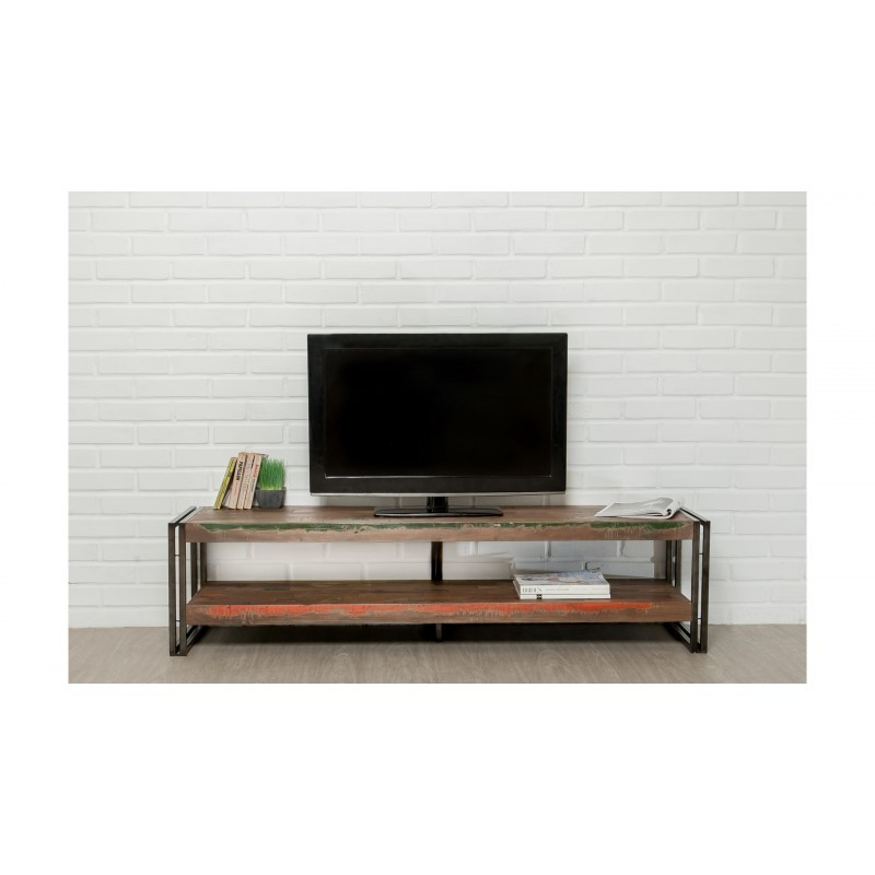 Low TV 2 industrial trays 160 cm NOAH massive teak recycled and metal stand - image 36256