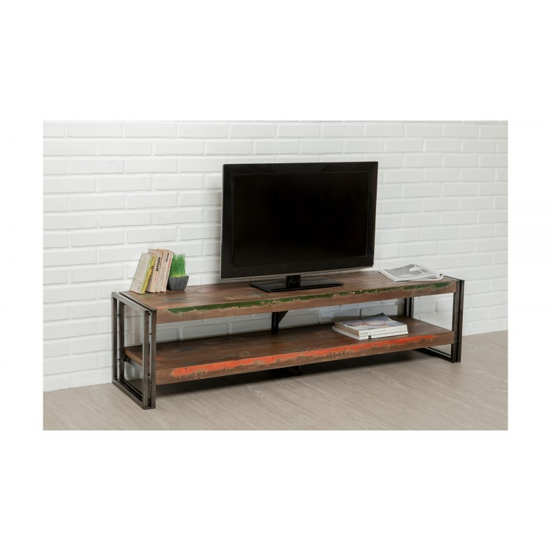 meuble tv bas 2 plateaux industriel 160 cm noah en teck massif recycl et m tal. Black Bedroom Furniture Sets. Home Design Ideas