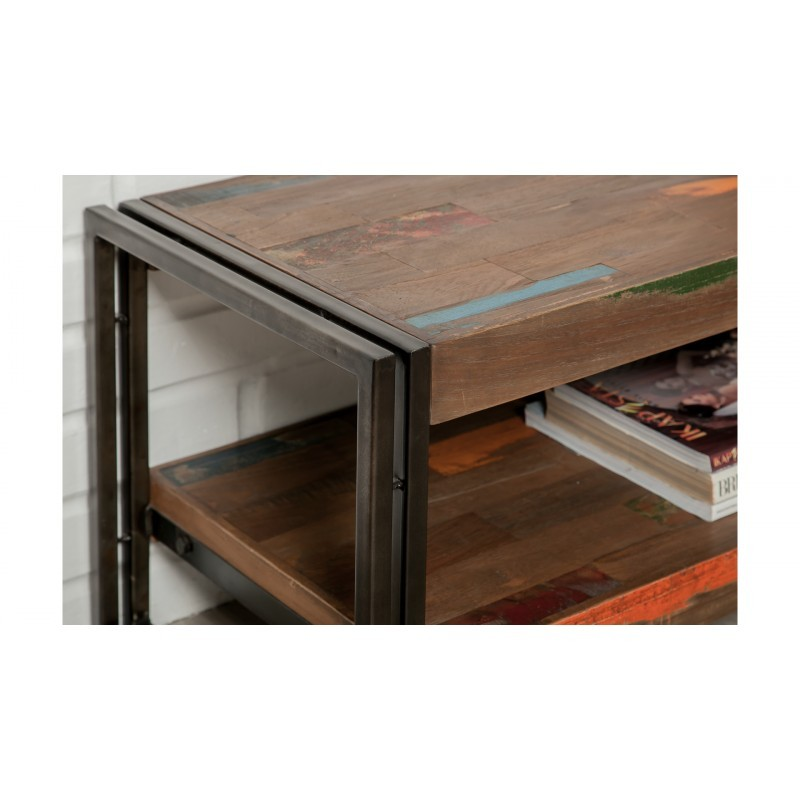 Low TV 2 industrial trays 160 cm NOAH massive teak recycled and metal stand - image 36258