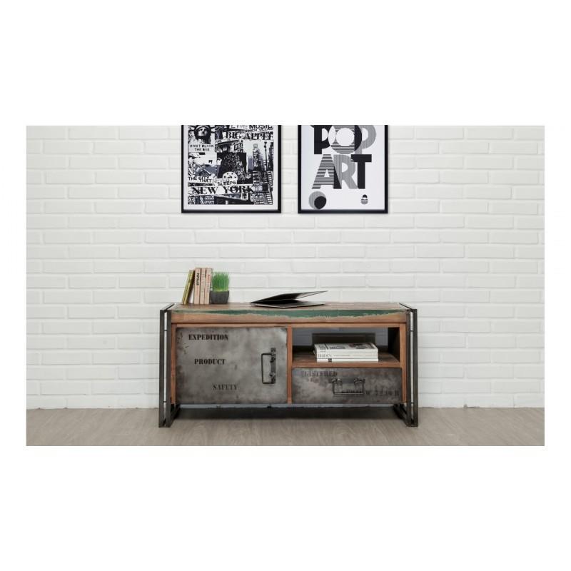 Meuble TV bas 1 porte 1 niche 1 tiroir industriel 110 cm NOAH en teck massif recyclé et métal - image 36259