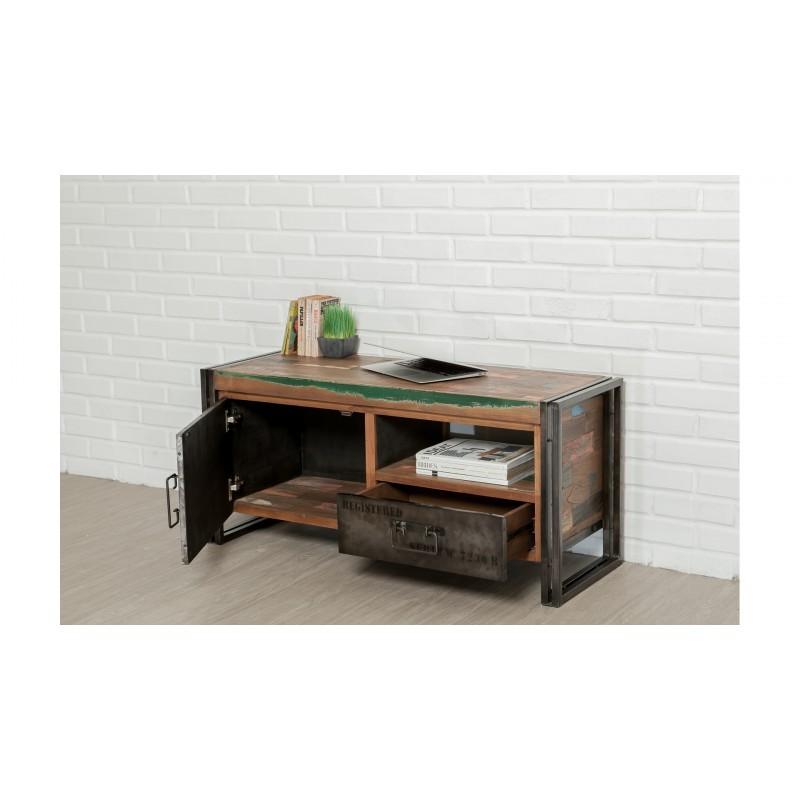 Möblierte 1 Tür 1 niedrige TV Nische 1 industrielle Schublade 110 cm NOAH massiven Teak recycelt und Metall - image 36261