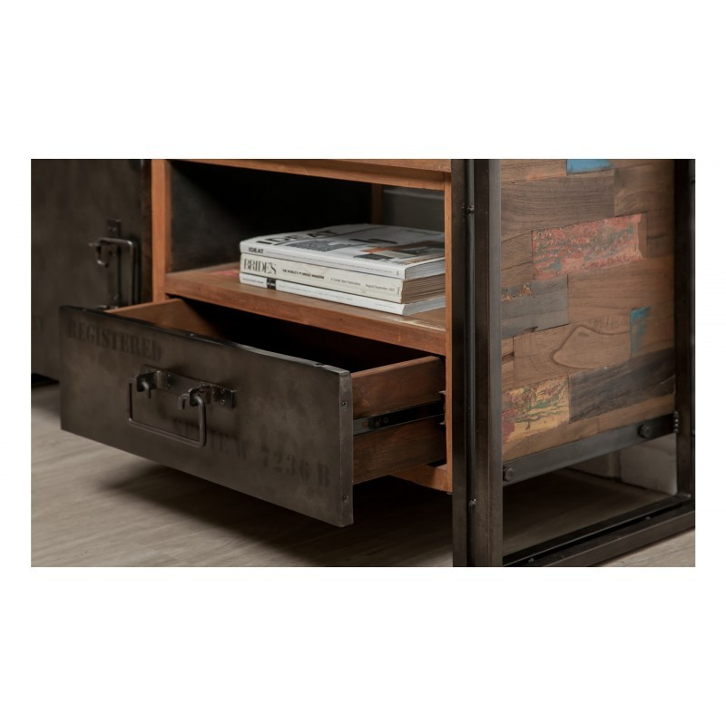 meuble tv bas 1 porte 1 niche 1 tiroir industriel 110 cm. Black Bedroom Furniture Sets. Home Design Ideas