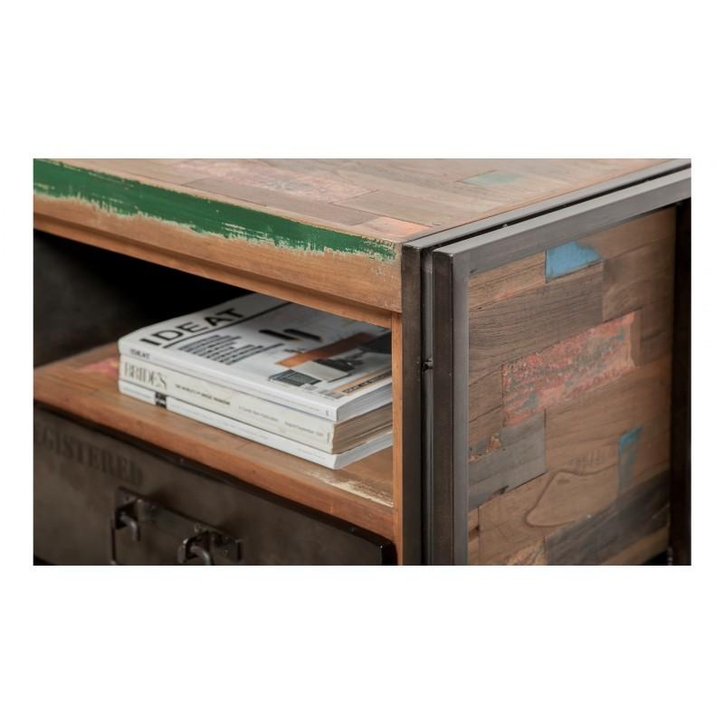 Meuble TV bas 1 porte 1 niche 1 tiroir industriel 110 cm NOAH en teck massif recyclé et métal - image 36263