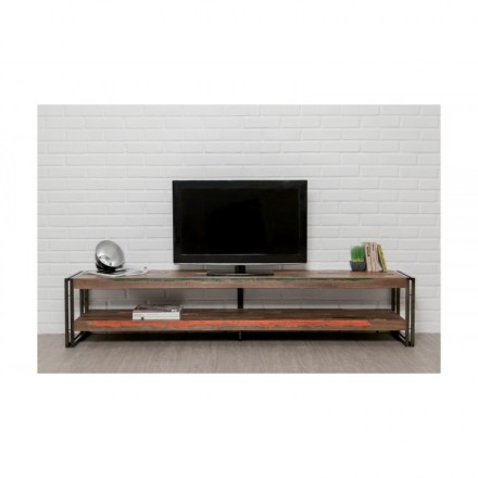 Low TV 2 industrial trays 200 cm NOAH massive teak recycled and metal stand