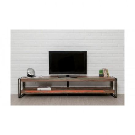 Meuble TV bas 2 plateaux industriel 200 cm NOAH en teck massif recyclé et métal