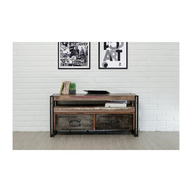 meuble tv bas 2 tiroirs 1 niche industriel 110 cm noah en teck massif recycl et m tal. Black Bedroom Furniture Sets. Home Design Ideas