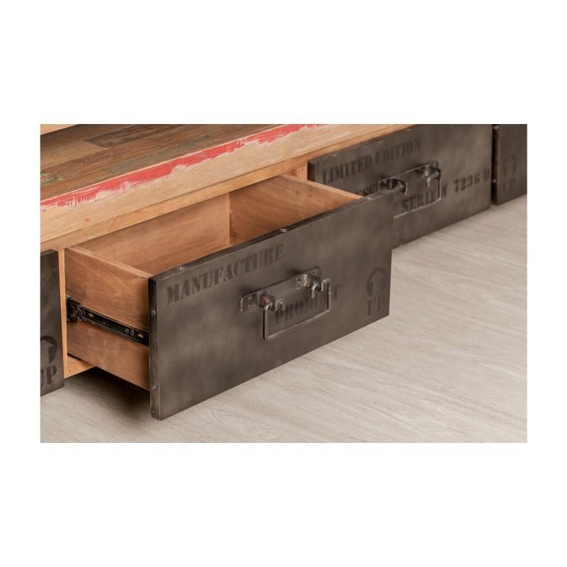 Möbel 2 Schubladen 1 niedrige TV Nische 110 cm NOAH massiven Teak recycelt Industrie und Metall - image 36270