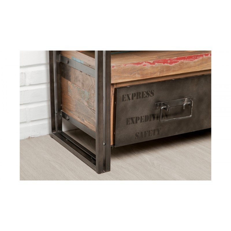 recycled industrial furniture. Furniture 2 Drawers 1 Low TV Niche 110 Cm NOAH Massive Teak Recycled  Industrial And Metal Furniture