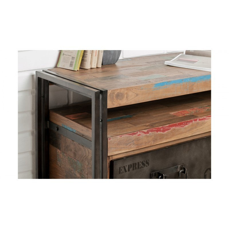 Furniture 2 drawers 1 low TV niche 110 cm NOAH massive teak recycled industrial and metal - image 36273