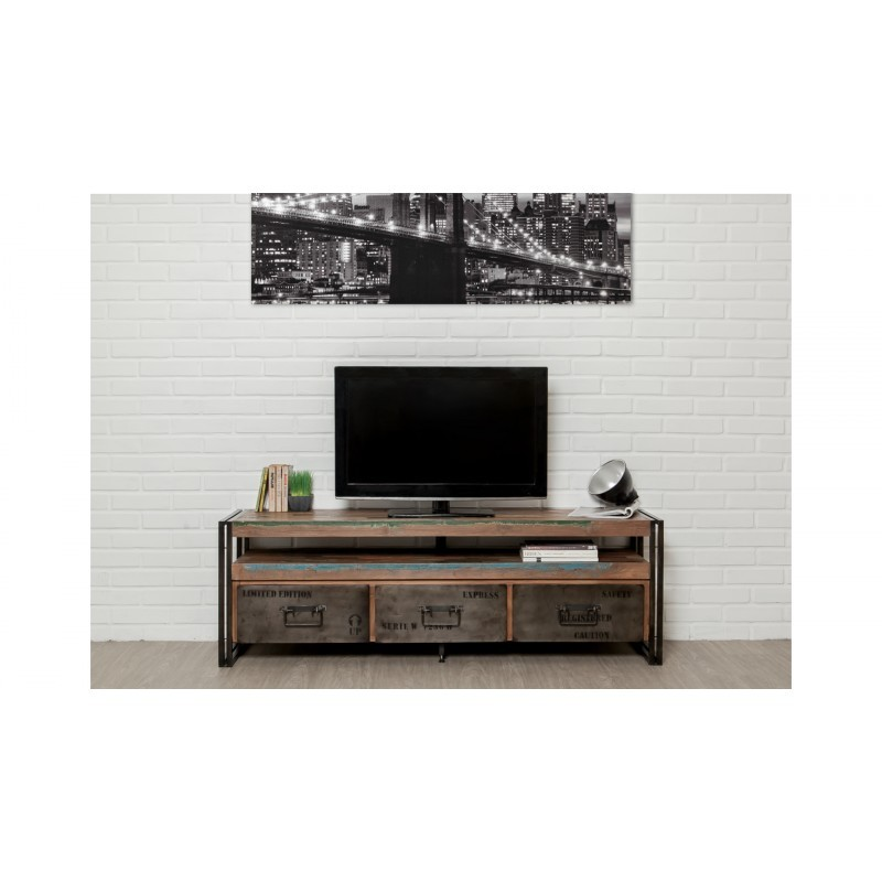 Furnished 3 drawers 1 low TV niche 160 cm NOAH massive teak recycled industrial and metal - image 36274