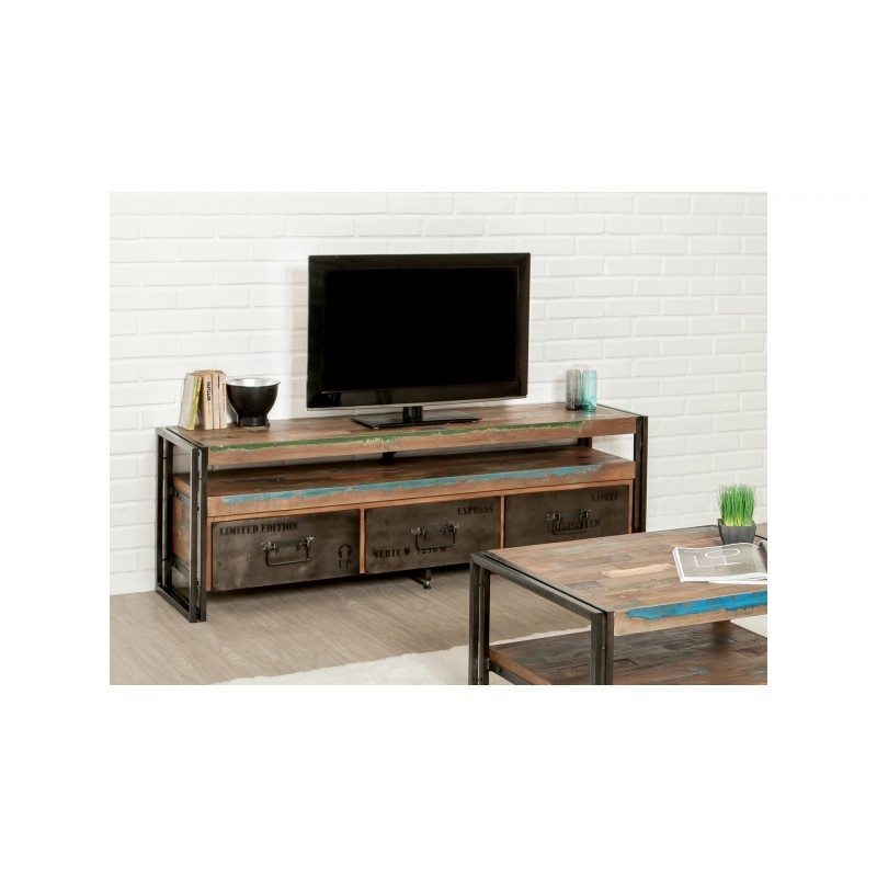 Furnished 3 drawers 1 low TV niche 160 cm NOAH massive teak recycled industrial and metal - image 36275