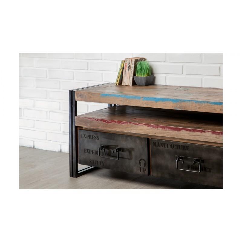 Möblierte 4 Schubladen 1 niedrige TV Nische 210 cm NOAH massiven Teak recycelt Industrie und Metall - image 36286