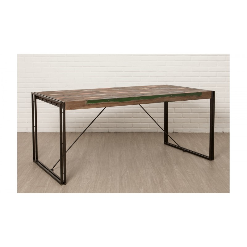 Table vintage NOAH in solid recycled teak and metal (180x90x78cm) - image 36292