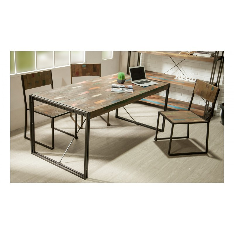 Table vintage NOAH in solid recycled teak and metal (180x90x78cm) - image 36293