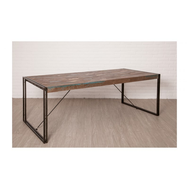 Table vintage NOAH in solid recycled teak and metal (220x100x78cm) - image 36297