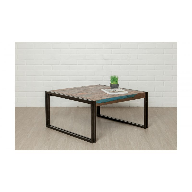 Square low table vintage NOAH in solid recycled teak and metal (80x80x40cm) - image 36300