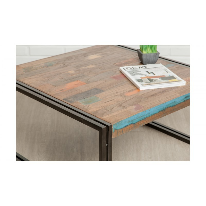 Square low table vintage NOAH in solid recycled teak and metal (80x80x40cm) - image 36301