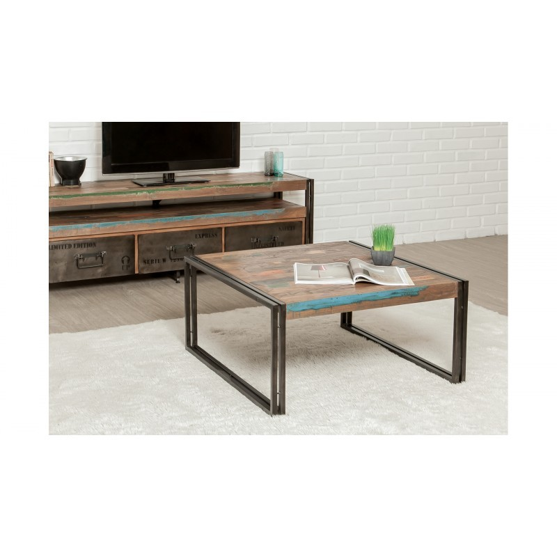 table basse carr e vintage noah en teck massif recycl et m tal 80x80x40cm. Black Bedroom Furniture Sets. Home Design Ideas