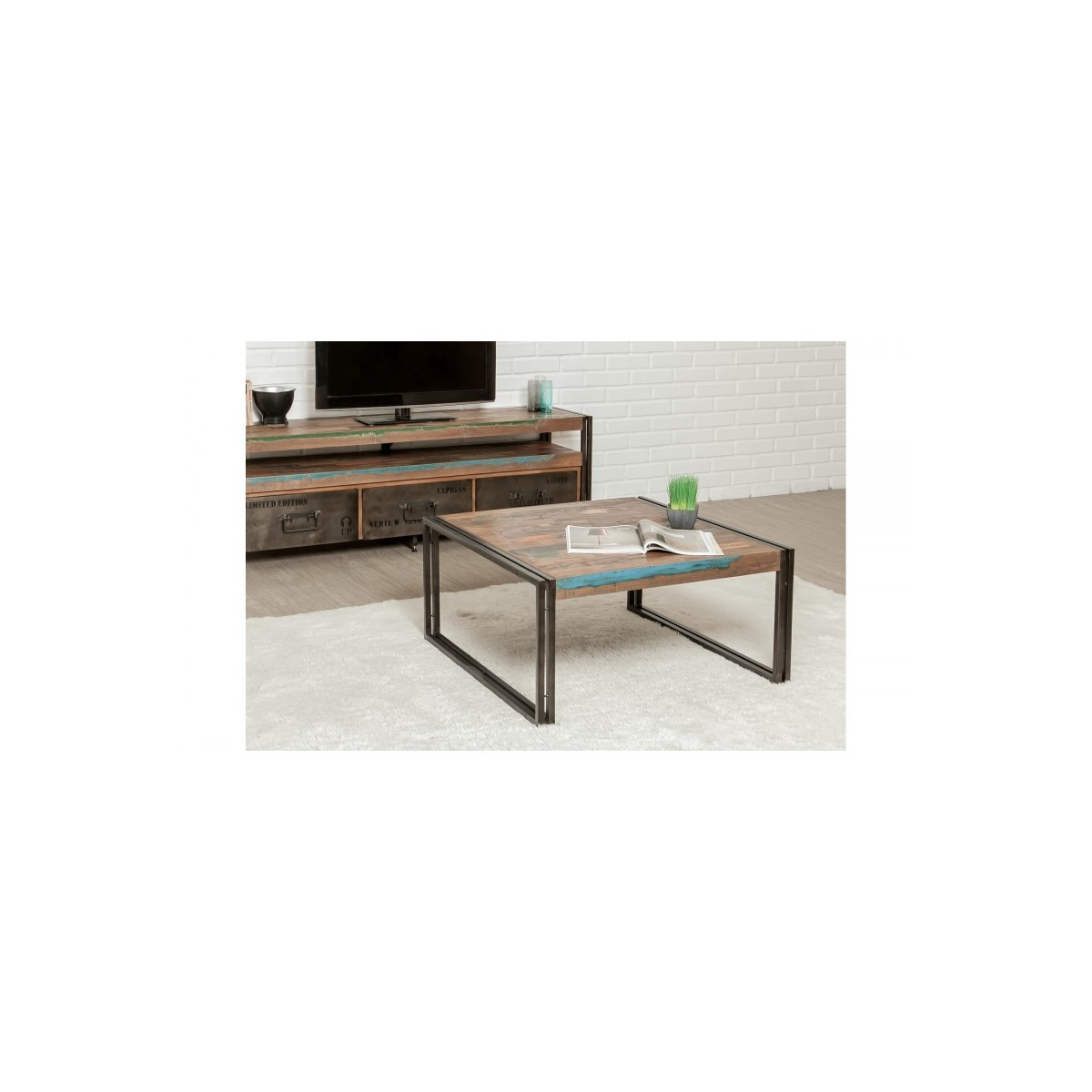 Square Low Table Vintage Noah In Solid Recycled Teak And Metal 80x80x40cm